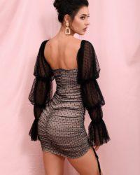 Black Polka Dot Mesh Long Sleeve Bodycon Mini Dress LE98288