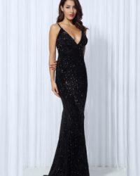 Black Elastic Sequin Vneck Formal Long Evening Party Dress With Open Back LE99791