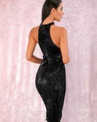 Black Halter Sequins Knee Length Party Dress LE98823
