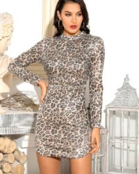 Bodycon Leopard Sequins Slim Mini Party Dress Open Back With Long Sleeves LE98603