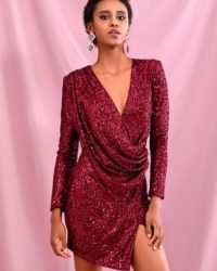 Burgundy Sequins Bling Deep Vneck Draped Bodycon Dress With Long Sleeves LE98473